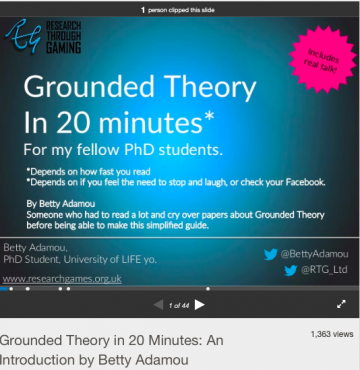 Written and uploaded to SlideShare in 2015. During my PhD (note, I did not finish by PhD. I wrote a book instead!) I was going to use Grounded Theory as a research method. When I learned about it, I wanted to develop a simplified guide to help fellow students and save them time. And so I did. It has been viewed over 1000 times, and I have had a few emails from readers saying how much it helped them understand GT, and that it made them laugh. :)